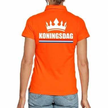 Koningsdag poloshirt kroon oranje dames