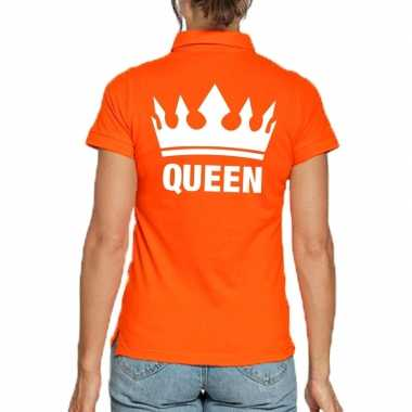 Koningsdag poloshirt queen oranje dames