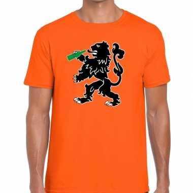 Koningsdag t shirt oranje bier drinkende leeuw heren