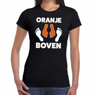 Koningsdag zwart t shirt oranje boven dames
