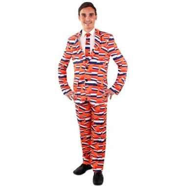 Luxe oranje kostuum nederlandse vlag heren