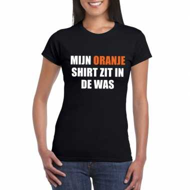 Mijn oranje shirt zit was t shirt zwart dames