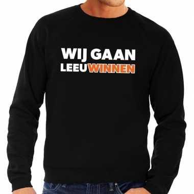 Nederland supporter sweater wij gaan leeuwinnen zwart heren