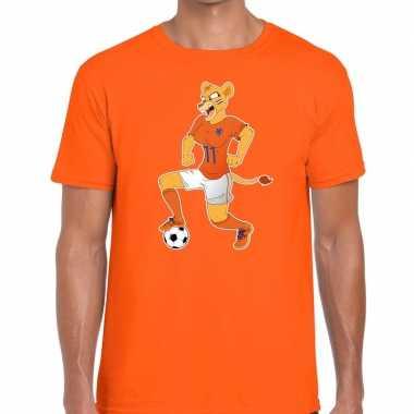 Nederland supporter t shirt leeuwin voetbal oranje heren