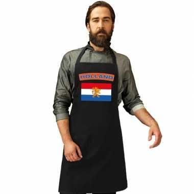 Nederland vlag barbecueschort keukenschort zwart volwassenen