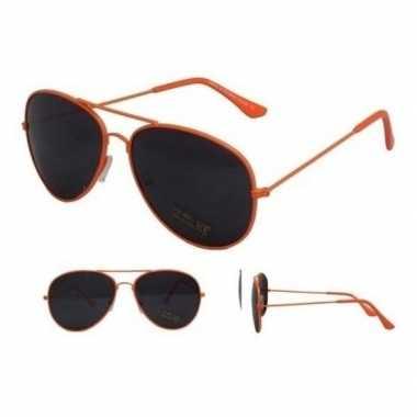 Neon oranje aviator feestbril dames heren