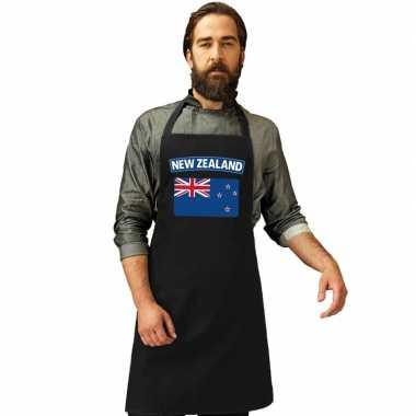 Nieuw zeeland vlag barbecueschort/ keukenschort zwart volwassene