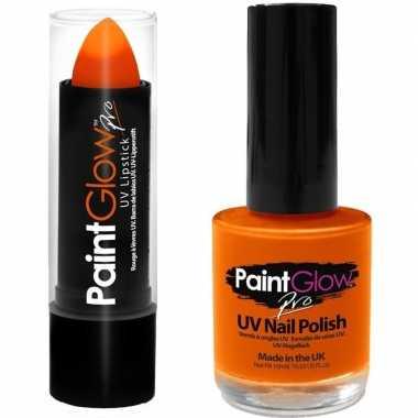 Oplichtende lichtgevende fan supporter lipstick nagellak set neon oranje