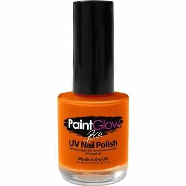 Oplichtende/lichtgevende fan/supporter nagellak neon oranje 12 ml