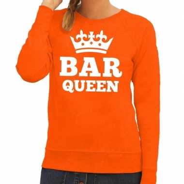 Oranje bar queen sweater dames