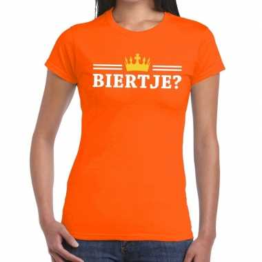 Oranje biertje kroon shirt dames