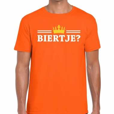 Oranje biertje kroon shirt heren
