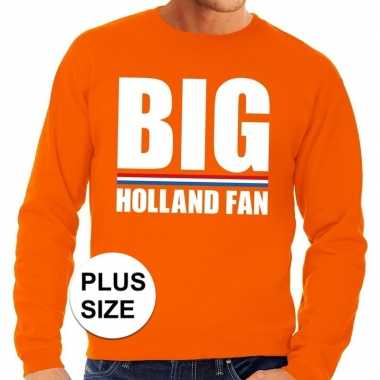 Oranje big holland fan grote maten sweater / trui heren