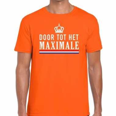 Oranje door tot maximale t shirt heren