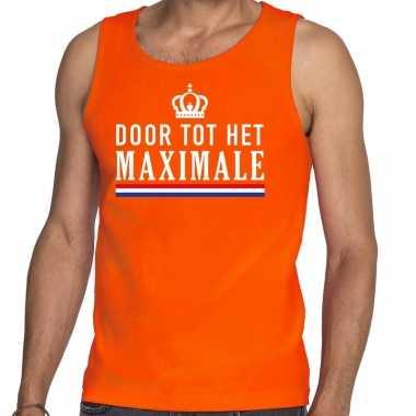 Oranje door tot maximale tanktop / mouwloos shirt heren