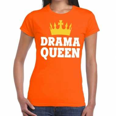 Oranje drama queen t shirt dames