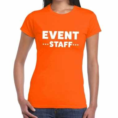 Oranje evenement shirt event staff bedrukking dames