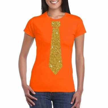 Oranje fun t shirt stropdas glitter goud dames