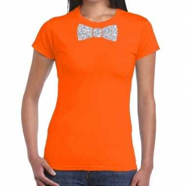 Oranje fun t shirt vlinderdas glitter zilver dames