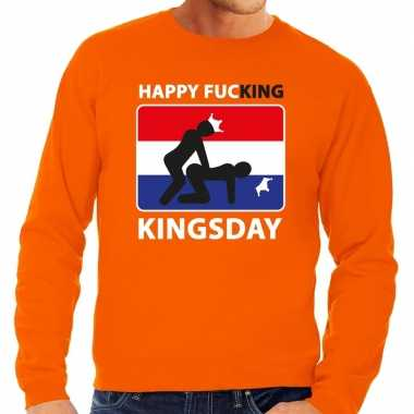 Oranje happy fucking kingsday sweater heren