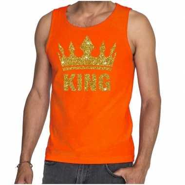 Oranje hemd heren gouden glitter king