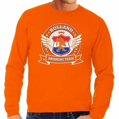 Oranje holland drinking team sweater heren