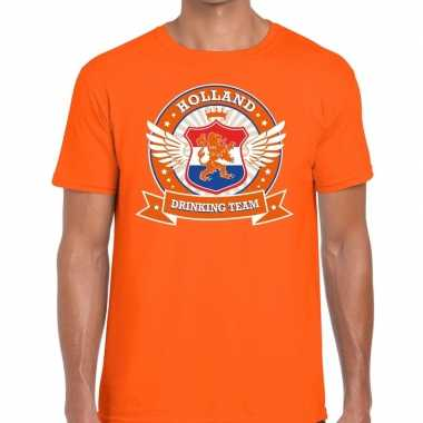 Oranje holland drinking team t shirt heren