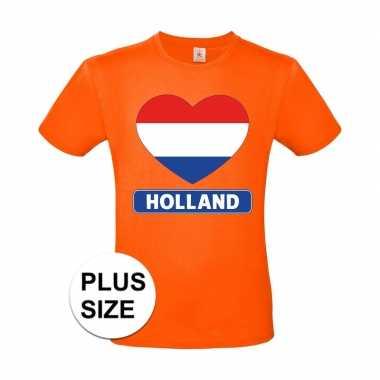 Oranje holland hart vlag grote maten shirt heren
