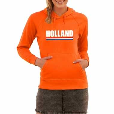 Oranje holland supporter sweater capuchon dames