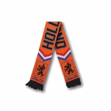 Oranje holland thema fan sjaal gebreid