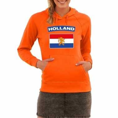 Oranje holland vlag sweater capuchon dames