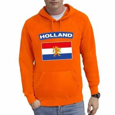 Oranje holland vlag sweater capuchon heren