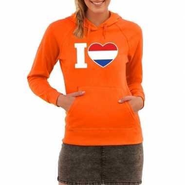Oranje i love holland sweater capuchon dames