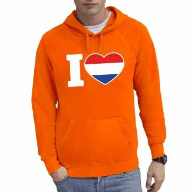 Oranje i love holland sweater capuchon heren