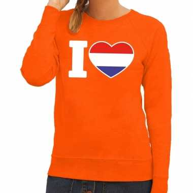 Oranje i love holland sweater dames