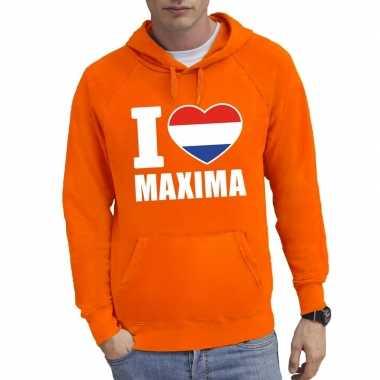 Oranje i love maxima sweater capuchon heren