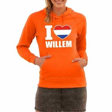 Oranje i love willem sweater capuchon dames