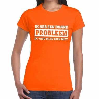 Oranje ik heb een drankprobleem t shirt dames