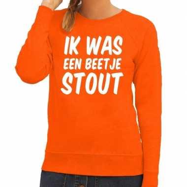 Oranje ik was een beetje stout sweater dames