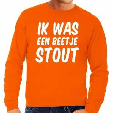 Oranje ik was een beetje stout sweater heren