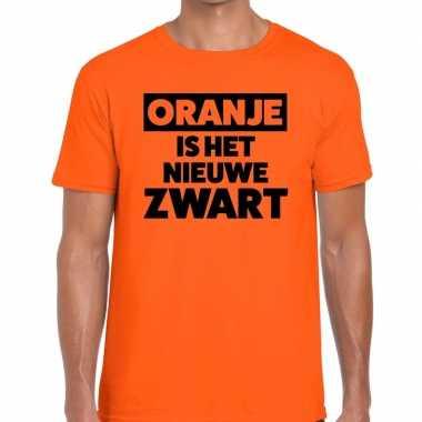Oranje is nieuwe zwart koningsdag t shirt heren