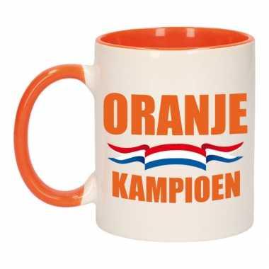 Oranje kampioen mok/ beker oranje wit 300 ml