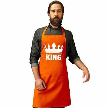 Oranje king bbq schort keukenschort kroon heren