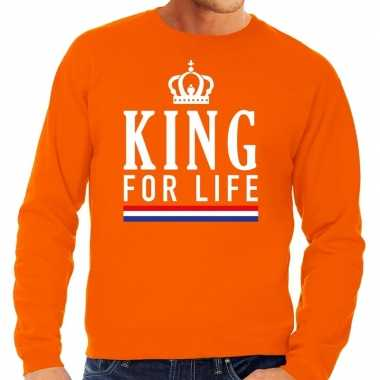 Oranje king for life sweater heren