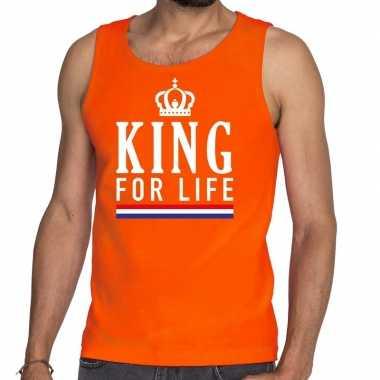 Oranje king for life tanktop / mouwloos shirt heren