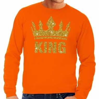 Oranje king gouden glitter kroon sweater heren