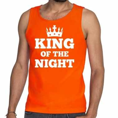Oranje king of the night tanktop / mouwloos shirt heren
