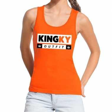 Oranje kingky outfit tanktop / mouwloos shirt dames