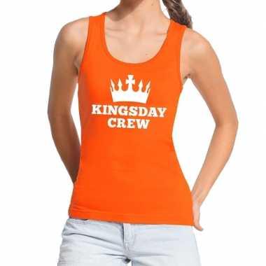 Oranje kingsday crew tanktop / mouwloos shirt dames