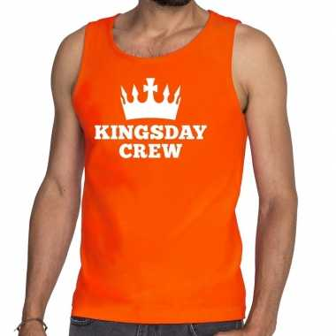 Oranje kingsday crew tanktop / mouwloos shirt heren